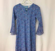 American Girl Dress Blue Glittery Paisley A Line Big Girls Sequin Dress Size 14  #AmericanGirl #Dress