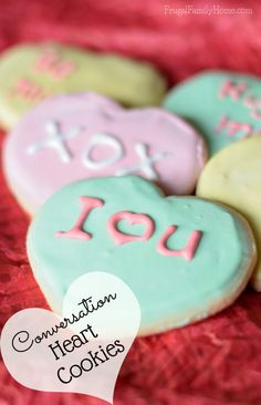 Bake these cute conversation heart sugar cookie for your valentine. They are sure to be just right after you personalize them yourself.