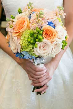 Peach and blue bouquet // photo by Natalia Zamarripa Photography