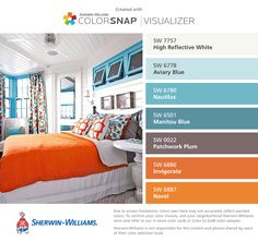 I found these colors with ColorSnap® Visualizer for iPhone by Sherwin-Williams: High Reflective White (SW 7757), Aviary Blue (SW 6778), Nautilus (SW 6780), Manitou Blue (SW 6501), Patchwork Plum (SW 0022), Invigorate (SW 6886), Navel (SW 6887).