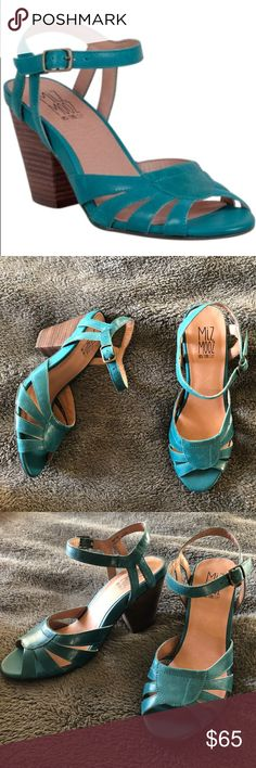 Miz Mooz Vintage Sandal Cute vintage style. Teal. Brand new never used. Mid height heel. Leather material. I always get complements on my unique Miz Mooz shoes. Currently on amazon for 98. As seen on junebug and Georgia peaches bloggers. For any other questions you may have, please ask 🙂 happy to help Miz Mooz Shoes Sandals