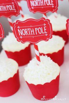 Adorable North Pole Cupcakes! Via Kara's Party Ideas KarasPartyIdeas.com #christmascupcakes #northpole #cupcakes