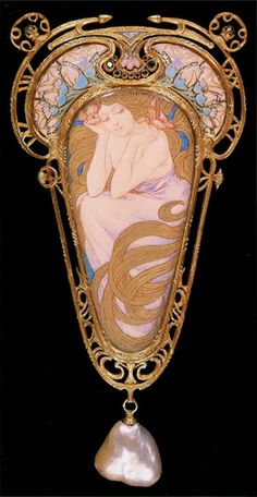Adornment for the bodice, Mucha & Fouquet, ca. 1900: gold, enamel, emeralds, baroque pearl, with watercolor and metallic paint on mother- of-pearl.