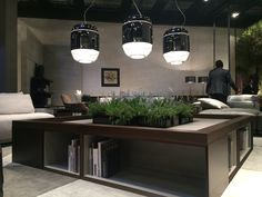 Gorgeous lighting + oversized cocktail table at the Natuzzi showroom at the #salonedelmobile2015