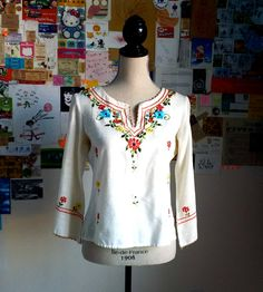 1960s mexican embroidery blouse. $30.00, via Etsy.