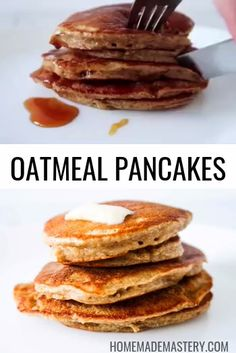These healthy pancakes make an easy healthy breakfast recipe that is made with oats, without flour, without banana and without refined sugar! These easy oatmeal pancakes are quick and delicous! Oatmeal Pancakes Easy, Oatmeal Pancakes No Flour, Protein Pancakes Without Banana, Banana Almond Flour Pancakes, Paleo Pancakes Almond Flour, Oat Flour Cookies, Healthy Protein Pancakes, Whole Grain Pancakes, Raisin Cookies