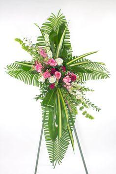 Tropical Cross shape Funeral spray