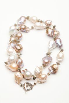 Bijoux de Mer Baroque Mocha Pearl and Pyrite Necklace by Bijoux de Mer from Amanda Pinson Jewelry
