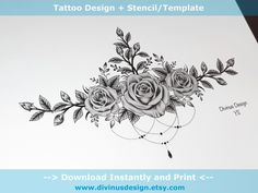Black and Gray Colored Roses Sternum Tattoo design and Stencil/Template - Instant Digital Chest Tattoos For Women, Shoulder Tattoos For Women, Lace Shoulder Tattoo, Chest Tattoo Female Upper, Shoulder Tats, Tattoos For Women Flowers, Tattoos Geometric, Tribal Tattoos, Buddha Tattoos