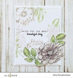 Anna Kossakovskaya: Altenew Beautiful Day stamp set and die set; Altenew Cards, Stampin Up Cards, Outline Images, Scrapbooking, Watercolor Cards, Large Flowers, Flower Cards, Flower Stamp, Paper Flowers