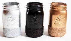 DIY Glitter Dipped Mason Jars