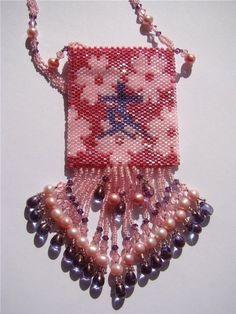 Amulet bag red flower  beaded pink