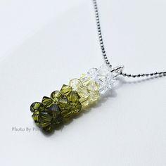 Bead Woven Oliven Green Swarovski Crystal Popsicle by pinkymonkey, $19.00