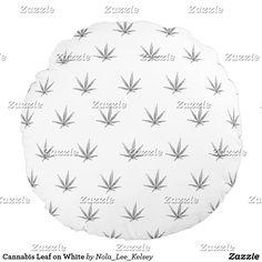 Cannabis Leaf on White Round Pillow