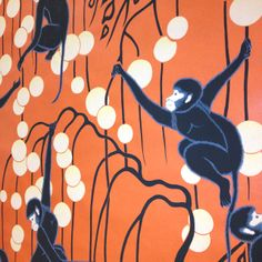 The glorious and frisky Deco Monkeys wallpaper from DeGournay at the fabulous Webster & Company showroom in Boston.