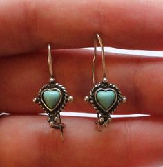 Vintage Sterling Silver & Turquoise Heart Earrings by paststore on Etsy