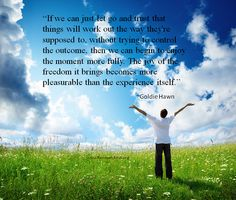 Addiction quote about letting go & triumph by Goldie Hawn