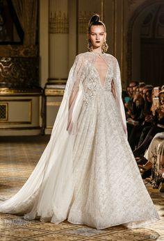 berta spring 2018 bridal sleeveless spagetti strap deep v neck full embellishment glitter princess romantic a  line wedding dress with cape royal train (11) mv -- Berta Spring 2018 Wedding Dresses