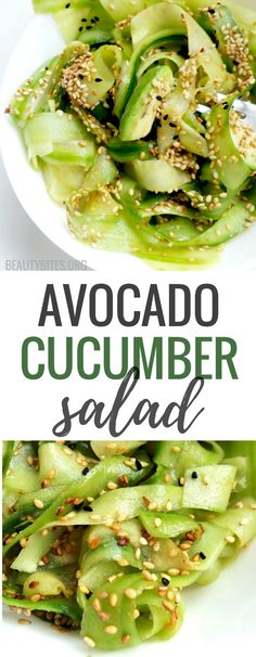Tasty avocado cucumber salad with sesame seeds - light & easy vegan low-carb recipe! This was surprisingly filling & satisfying and it was actually my dinner! It would also make a good side dish. | www.beautybites.org