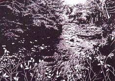 Deep Wood Falls, linocut print by William Hays