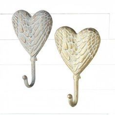 Feathered Heart Wall Hooks, Set of 2