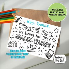 print and color thank you card for teacher or mom. Printable and digital version included. Teacher Thank You Cards, Teachers Day Gifts, Thank You Cards From Kids, Printable Thank You Cards, Thank You Mom, Teacher Name, Your Teacher, Kids Cards, Teacher Gifts