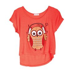 Music Owl Tee ($25) ❤ liked on Polyvore featuring tops, t-shirts, shirts, blusas, view all graphic tees, red owl t shirt, graphic shirts, owl tee, tee-shirt and graphic print t shirts