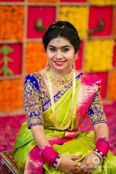 South indian bridal blouse designs hindus 37 Ideas for 2019 South Indian Bridal Jewellery, South Indian Weddings, Indian Jewelry, South Indian Bride Saree, Kerala Jewellery, Bride Indian, Indian Wear, Mary Janes, Wedding Silk Saree
