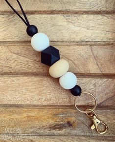Black & White Silicone Bead Teacher Lanyard, Beaded Teacher Lanyard, ID Badge Holder Lanyard, Classr Birthday Gifts For Boyfriend, Boyfriend Gifts, Beaded Lanyards, Beaded Garland, Id Badge Holders, Teacher Appreciation Gifts, Couture, Wooden Beads, Key Rings