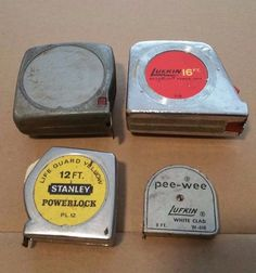 VINTAGE TAPE MEASURE LOT of 4 --- STANLEY POWER LOCK, LUFKIN PEE WEE L@@K!