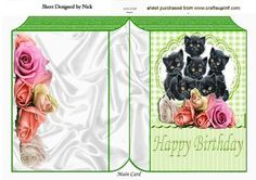 Cute kittens amongst the roses on lace folded book on Craftsuprint - Add To Basket!