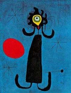Miró: mujer ante el sol. Me encanta el cigarro en la boquilla!