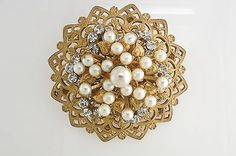Vintage Large Miriam Haskell Gold Tone Faux Pearl White Rhinestone Crystal Pin | eBay
