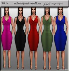 File 04 ( dress on derivablex mesh 5 possible sizes 5 colors)jpeg files ( opacity and textures)chkn file as referenceedit rightstext fileBasic licence to use on only one IMVU account. Edit rights included.You need to send me avatar name you purchased files for. Please read rules carefully , thank