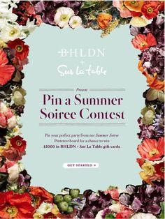 """[[CLOSED]] BHLDN + Sur La Table present the """"Pin a Summer Soiree Contest."""" Pin your perfect party favorites from BHLDN + Sur La Table for a chance to win $1000 in BHLDN + Sur La Table gift cards! Get Started >>"""