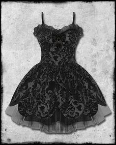 plus size steampunk for women | HELL BUNNY BLACK PETAL GOTH STEAMPUNK VICTORIAN FLOCKED MINI PROM ...