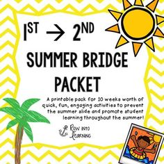 This document is a printable pack for 10 weeks worth of quick, fun, engaging activities to prevent the summer slide and promote student learning throughout the summer! This packet includes:*2nd grade skills overview of what to expect*Daily quick standards based activity for every day of the summer.*A list of 1st and 2nd grade dolch words*2nd grade dolch word flash cards*Journal paper *Time memory match game to the quarter hour*Money value and coin recognition matching game*Measurement activity t