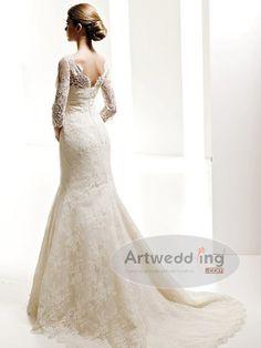 Three quarter lace sleeve mermaid wedding dress | ... /wedding/S/Satin-Lace-Applique-Mermaid-with-34-length-Sleeve-(2).jpg