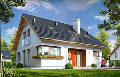Optimal house plan is a detached house, with attic, designed for a family of four to five people. Optimal is the house of simple design, clear and legible block. A rectangular plan was covered by symmetrical gable roof. Tiny Guest House, Gable Roof, Cottage Homes, Detached House, Home Fashion, House Plans, Exterior, House Design, How To Plan