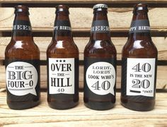 40th Birthday Gift, Over the Hill gift, Custom Beer Bottle Labels, Cheers and Beers to 40 Years, Birthday Card, 40th Birthday Gift for Man #beerbottle