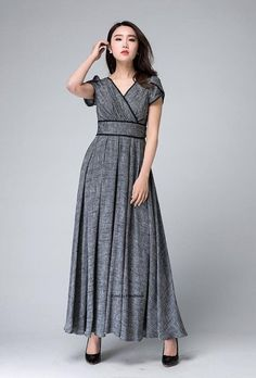 Chic and Feminine , This gray maxi dress is a Must-Have for 2016 . A empire dress design ,with surplice neckline and petal sleeve, especially the Black lace detail make this dress so lovely. The fitted waist and gather pleated long skirt make a great silhouette. Wear this unique long dress for your next evening party.  7 More Gorgeous Color Available https://www.etsy.com/treasury/Nzc2ODUxMnwyNzI4MzU2OTU4  Details * Gray linen dress,black lace * Side zipper in the right side * Short sleeve…