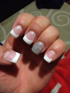 Cute new gel nails for me :) White sparkly tips with fun full sparkly ring finger. Cute gel nails for sophisticated girls who wanna spice things up a bit.