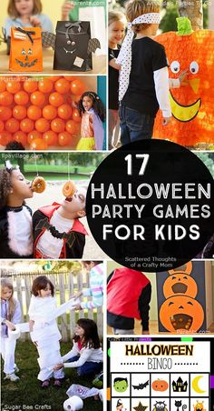 a Halloween Party or playdate for the kids this year? Time to crank the fun with these 17 Halloween Party Games for Kids.Planning a Halloween Party or playdate for the kids this year? Time to crank the fun with these 17 Halloween Party Games for Kids. Halloween Party Kinder, Bonbon Halloween, Halloween Blocks, Halloween Games For Kids, Kids Party Games, Halloween Food For Party, Halloween Activities, Holidays Halloween, Halloween Themes