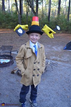 Jennifer: My son, Patrick (age came up with the idea to be Inspector Gadget. He loves old cartoons. I ordered a trench coat, and paired it with some pants and. Book Costumes, Book Character Costumes, Family Costumes, Diy Costumes, Crazy Hat Day, Crazy Hats, Halloween Costume Contest, Halloween Kostüm, Halloween Costumes For Kids
