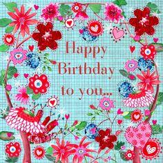 Happy Birthday kaart met kleurrijke bloemen. Design Birthday Card / Verjaardagskaart by Cartita Design www.kaartje2go.nl