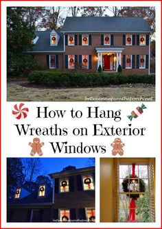 How to Hang Wreaths on Exterior Windows purchased ready-made bows at Michael's for half-price after Christmas one year. prefer to use 2 inch wide ribbon for my hanging ribbons - I chose bows with long flowing tails. They look so pretty swirlin Christmas Porch, After Christmas, Noel Christmas, Merry Little Christmas, Outdoor Christmas Decorations, All Things Christmas, Christmas Crafts, Christmas Wreath On Windows, Christmas Ideas