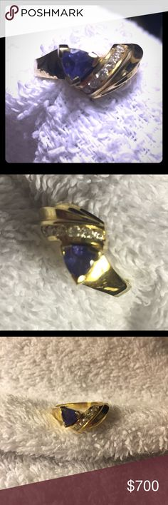 14 kt gold tanzanite & diamond ring w/appraisal Authentic tanzanite and diamond set in 14 kt gold. Trillion cut tanzanite total weight of .68 cts and round diamonds total weight of .25 cts. There is a lot of gold around the stones, which I'm told is what will help this ring maintain its value. I do have the paperwork from 1999 when I purchased it at a jewelry store in Bermuda.  Rep. value on this piece in 99 was $658, which was before gold prices skyrocketed!  In told value on this ring is…