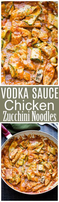 Healthy Recipes : Illustration Description Vodka Sauce Chicken Zucchini Noodles – Easy, quick, but SO delicious Zucchini Noodles and Chicken tossed with homemade Vodka Sauce. Zoodle Recipes, Spiralizer Recipes, Pasta Recipes, Low Carb Recipes, Chicken Recipes, Dinner Recipes, Cooking Recipes, Healthy Recipes, Paleo Dinner