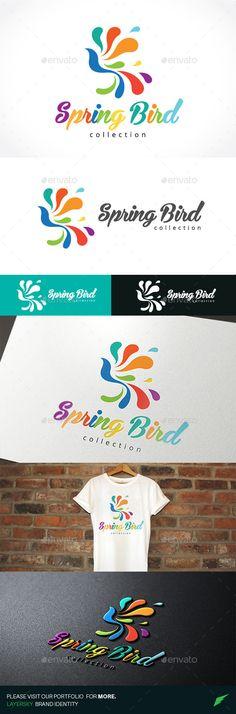 Spring Bird Logo Design Template Vector #logotype Download it here: http://graphicriver.net/item/spring-bird/11270541?s_rank=1475?ref=nesto