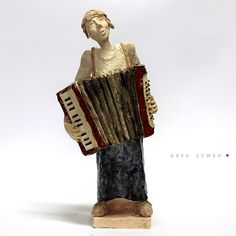 The  red accordion/Ceramic Sculpture/ Unique Ceramic Figurine by arekszwed on Etsy